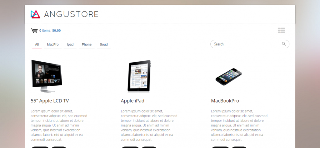 Angustore Responsive Shopping Cart
