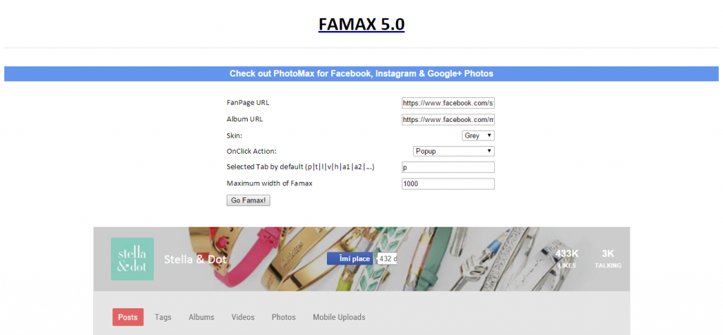 Famax Facebook Fan Page on your Website