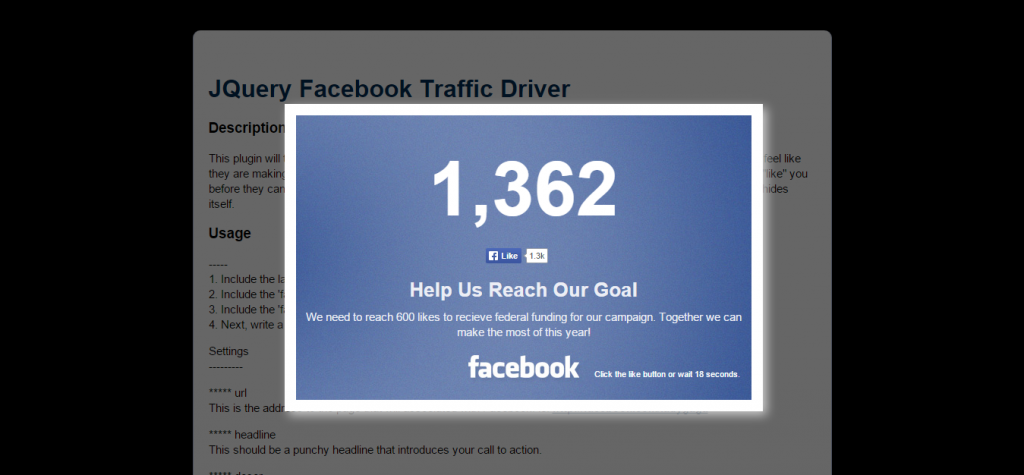 JQuery Facebook Traffic Driver
