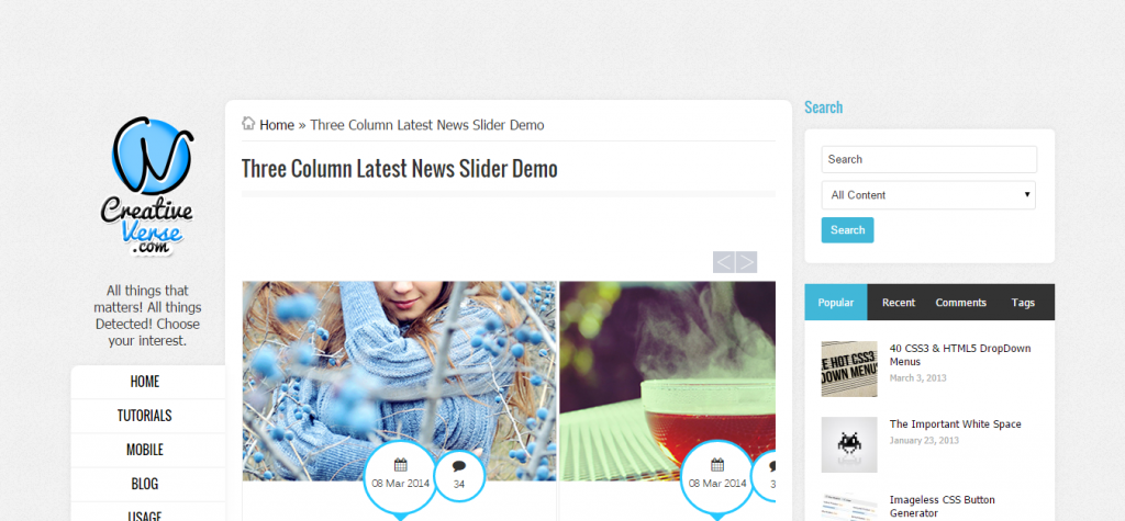 Multi Column Latest News Infinite Slider