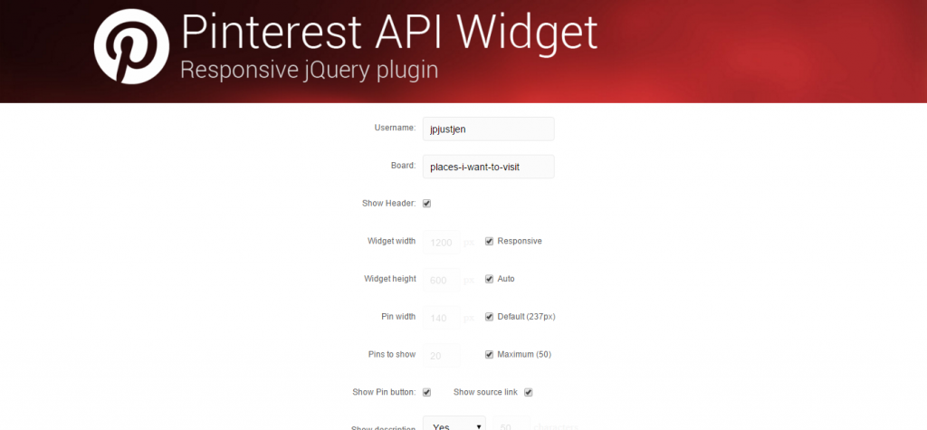 Pinterest API Widget